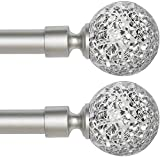 Window Treatment Single Curtain Rods Set with Sparkling Mosaic Ball Design Finish, 48 to 84 inch, 3/4 - Inch Diameter, Arts and Craft Style (Nickel, 2 Pack)