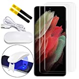 Johncase [2 Pack] Screen Protector Compatible for Samsung Galaxy S21 Ultra, [Supports Fingerprint Sensor ID] Full Coverage 3D Curved Tempered Glass Film W/UV Liquid Adhesive Light [Case Friendly]