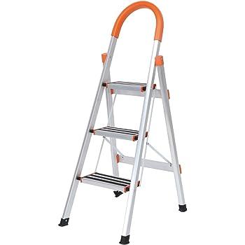 SogesHome Escalera de 3 escalones de aluminio con empuñadura Escalera plegable con escalones antideslizantes Escalera de mano para el hogar Escalera de mano plegable, NSD-JF-003: Amazon.es: Bricolaje y herramientas