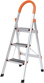 SogesHome Aluminum Step Ladder Folding Ladder Lightweight Multi Purpose Portable Home Ladder 3 Step,JF-003-SH