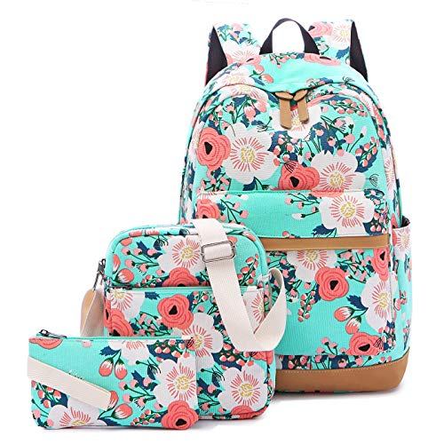 CAMTOP Teens Backpack for School Girls School Bookbag Set Floal Backpack with Lunch Box and Pencil Bag (Light Green-Flower)