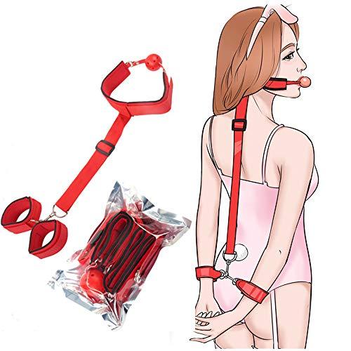 qisong Rotes alternatives Trainingsmundstück mit Anti-Rücken-Handschellen