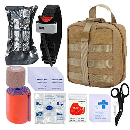 BUSIO Erste-Hilfe-Kit-Tactical Bag, medizinische EMT-Schere, Tourniquet, Schienenrolle, Klebestift, israelischer Verband, Notfall-Mylar-Decke, für Outdoor Sport Camping kajak