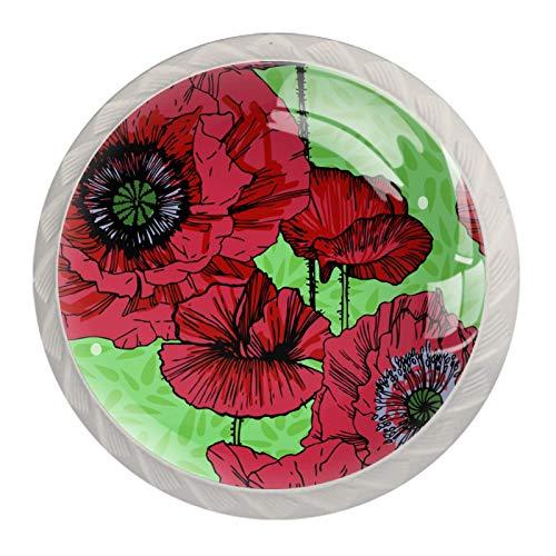 Z&Q Flor roja Juego de 4 tiradores modern de Base de Plastico & Cristal, con distintos diseños, ideales para puertas, armarios, cajones y cómodas 35mm