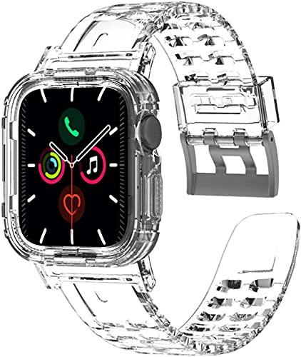 Cinturino Apple Watch 44mm con Cover, Cinturino in Silicone Compatibile con iWatch, Cinturini per Apple Watch Serie 6 5 4 3 2 1, Apple Watch SE, per Donna e Uomo (Chiaro)