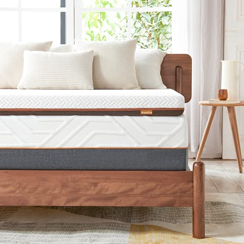 Inofia Double Memory Foam Mattress Topper with Cover, 6CM Naturbrown Mattress Topper,Transform Old Mattress By Adding Dual Layer,100Night Home Trial(135x190)