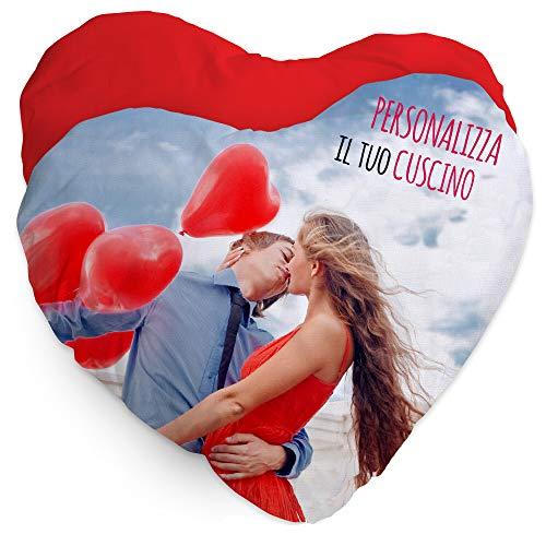 Colorfamily Cuscino Personalizzato con Foto a Cuore - Regalo per sanValentino - Regalo Innamorati