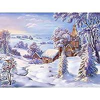 LovetheFamily 氷雪の世界 数字キットによる絵画 数字油絵 数字キット塗り絵 手塗り DIY絵 デジタル油絵 ホーム オフィス装飾 (40x50cm, フレームレス)