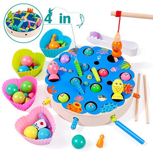 Rolimate Holzspielzeug Angelspiel Montessori Lernspielzeug Magnetisches Fischspielzeug aus Holz Weihnachten Geburtstagsgeschenk für Mädchen Kleinkind (67pcs)