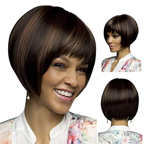 Kuizhiren1 Perruque de cheveux raides pour femme, coupe courte et droite, aspect naturel, couleur mélangée, pour cosplay – Noir + marron