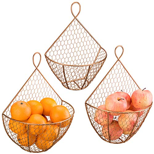 MyGift Copper Metal Chicken Wire Wall Hanging Produce Fruit Baskets, Set of 3