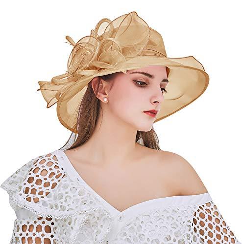 Bellady Women's Organza Church Kentucky Hat Derby Fascinator Bridal Tea Party Wedding Cap,Khaki