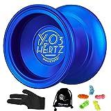 YOSTAR MAGICYOYO Y03 Hertz Profesional Yoyo Insensible Yoyo Metal Yo-yo para Trucos con Cuerdas, Spin de Alta Velocidad y Ligero, con 5 Cuerdas, Guante, Bolsa (Azul)