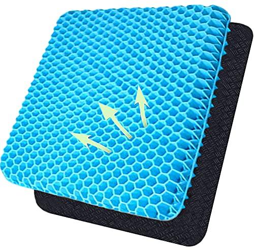Cojín de asiento de gel de doble capa transpirable con funda de tela antideslizante para aliviar la contrapresión, adecuado para todo tipo de sillas (azul crema)