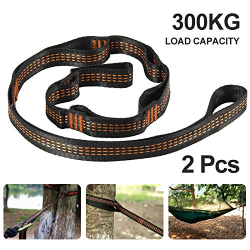 Sokey Camping Hammock Accessories Suspension System Hammock Tree Straps 300KG Heavy Duty, 100% No-Stretch Polyester, 2 Pack