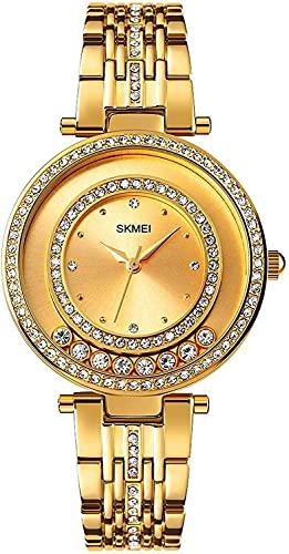 Relojes Casuales Reloj de Acero Inoxidable Ladies Reloj de Cuarzo de Lujo Rhinestone Girl Reloj Reloj Reloj de Pulsera Femenino (Color: Rosegold) (Color : Gold)