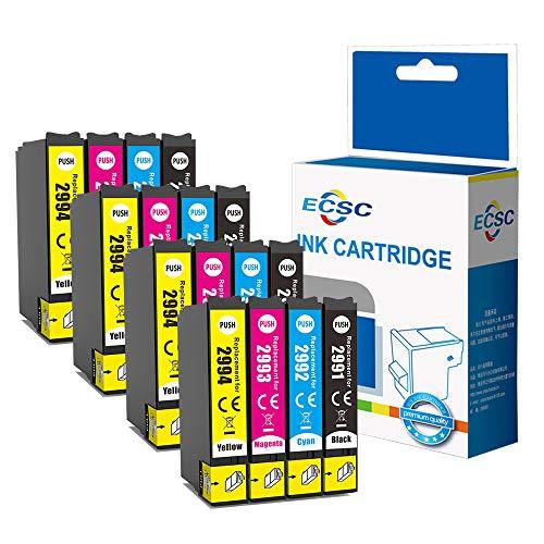 ECSC Compatibile Inchiostro Cartuccia Sostituzione Per Epson XP455 XP452 XP445 XP442 XP435 XP432 XP355 XP352 XP345 XP342 XP335 XP332 XP257 XP255 XP247 XP245 XP235 29XL (B/C/M/Y, 16-Pack)