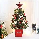 Árbol Bonsai Artificial Mini escritorio de navidad árbol regalo de la muchacha de decoración de interior con base de madera y el trapo rojo de la cubierta de Berry de red de los conos (Luces de la sec
