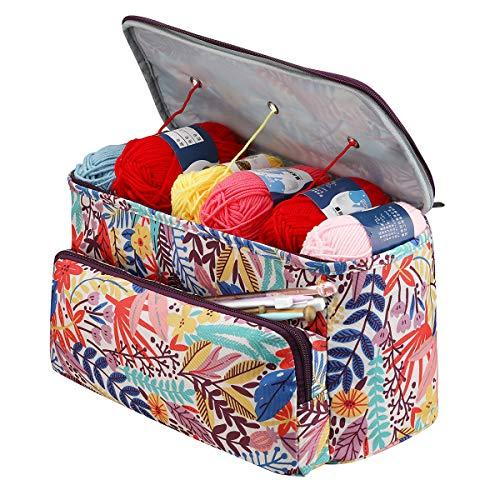 Bolsa de almacenamiento de hilo para ganchillo y tejer, bolsas de punto y organizadores de punto, bolsa de punto con compartimento y bolsillo, lana grande para hilados pulgadas