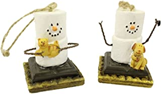 S'mores w/Puppy & Kitten Ornaments, Set of 2