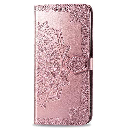 DXVLOIW Fundas iPhone 12 Pro MAX Tapa de Falsa Piel Mandala Oro Rosa, Fundas iPhone 12 Pro MAX Libro Iman con Tarjetero, Grabado Flores de Funda para iPhone 12 Pro MAX 6.7 Pulgada Antigolpes Mujer