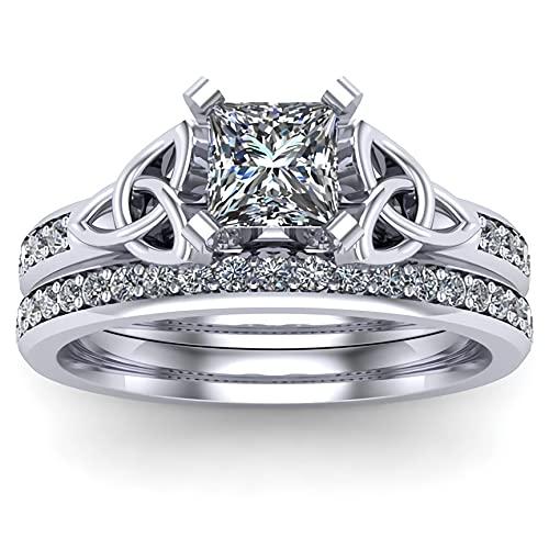 Engagement Ring for Women Bridal Sets 1-2/5 ct. tw.Princess cut Moissanite engagement ring set 10K 14k 18K gold wedding ring set Platinum Plated Silver celtic rings for women