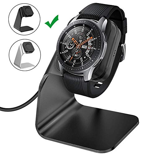 CAVN Ladegerät Kompatibel mit Samsung Galaxy Watch 46mm /42mm /Gear S3 Induktive Ladestation, (150cm/4.9ft) Ersatz USB Aluminium Ladekabel Schnellladegerät Lade Dock für Galaxy Watch/Gear S3, Schwarz