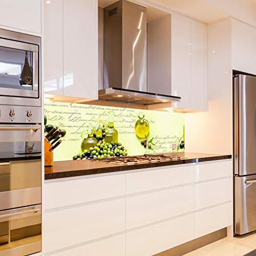 wandmotiv24 Küchenrückwand Oliven Öl Schrift Grün Flasche Glas 180 x 50cm (B x H) - Acrylglas 4mm Nischenrückwand Spritzschutz Fliesenspiegel-Ersatz Karaffe M1157