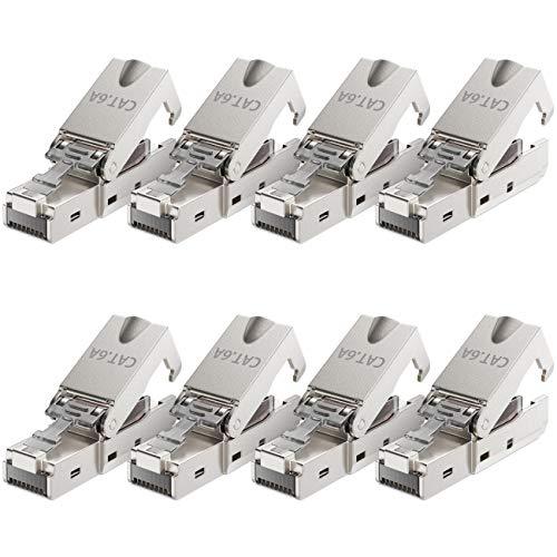 deleyCON 8X CAT 6a Werkzeugloser RJ45 Netzwerkstecker mit LSA Anschluss für Starre Verlegekabel Geschirmt 10Gbit/s LAN Kabel Netzwerkkabel Stecker CAT6a Metallgehäuse