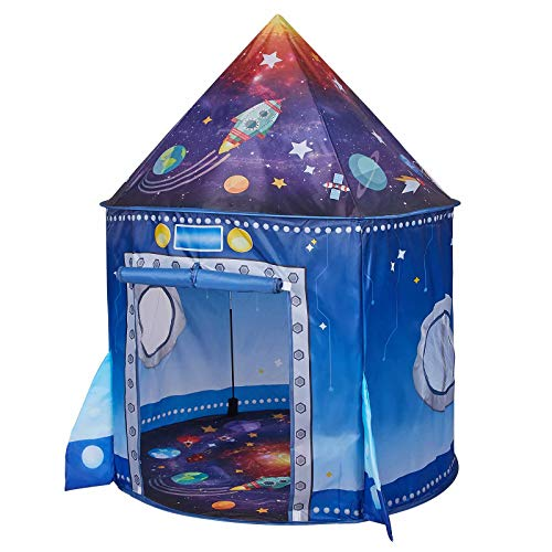 JS-KIDSEZ Premium Rocket Ship Kids Tent, a Pop Up Play Toy Tent for Kids, a Large Space Indoor Outdoor Playhouse. Unique Play Tent for Boys & Girls. Best Birthday Gift for 3 4 5 Years Old Kids Toys.
