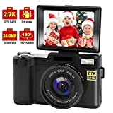 Digital Camera Vlogging Camera with YouTube 24MP 2.7k Full HD Camera with Flip Screen 180 Degree Rotation (s1) (G1)