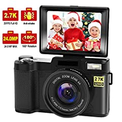 2.7K Full HD Digital Camera:This vlogging camera is crystal and clear in image shooting and video.It record video up to 2.7K/2688x1520 Full HD @25fps resolution. It shoot picture at 24.0 megapixels. This vlog camera performs extremely well in low lig...