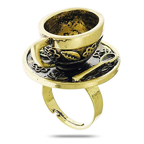 RechicGu Antique Gold Vintage Fairytale 3D Tea Cup Saucer Ring Party Fairy Tale Hatter Wonderland Cosplay Fancy Dress