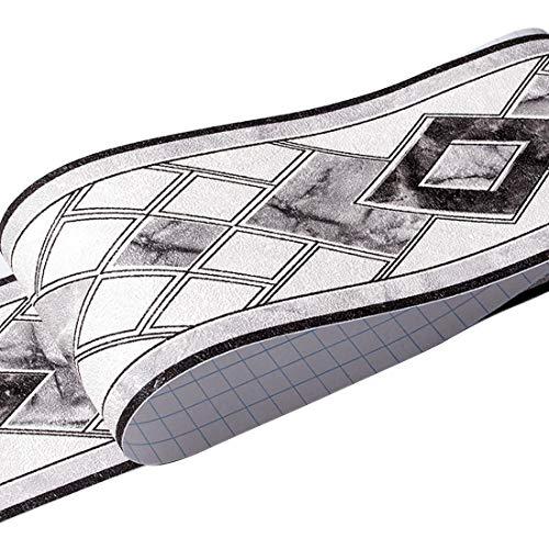 HBOS Moderne Geometrie Muster Tapete Bordüre Aufkleber Selbstklebende Entfernbar Zuhause Aufkleber Bordüren Dekoration für Küche Badezimmer...