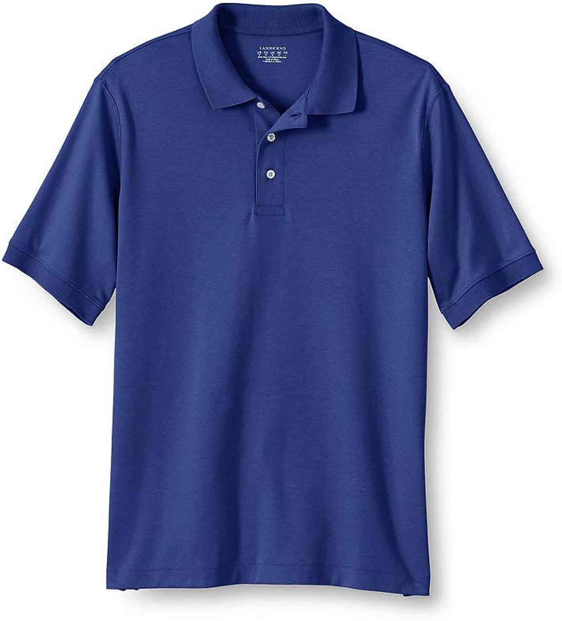Lands' End School Uniform Men's Banded Short Sleeve Pima Polo