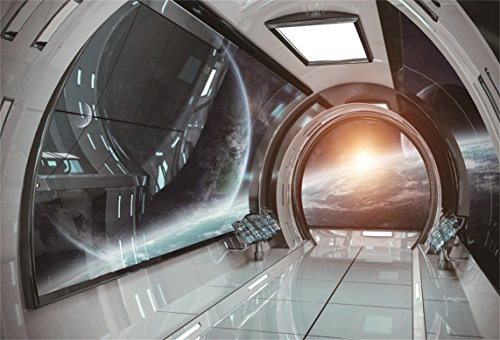AOFOTO 10x7ft Spaceship Interior Background Futuristic Science Fiction Photography Backdrops Spacecraft Cabin Photo Shoot Studio Props Astronomy Universe Galaxy Outer Space Station Vinyl Wallpaper
