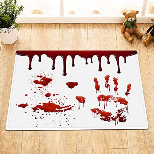 /N Halloween Terror Blood Handprint Baño Impermeable Cortina de Ducha Ganchos Mat