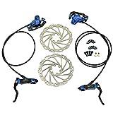 JUIN TECH DB1 MTB E-Bike Hydraulic Dual-Piston Disc Brake Set(F+R) w/160mm Rotor, Blue, JT2266