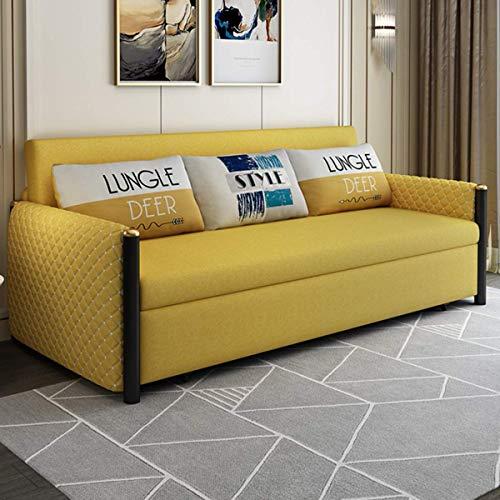 N/Z Home Equipment Sofa Cabrio Bett Faltbares Wohnzimmer Multifunktionale Doppelsofamöbel Komfortables Kissen mit praktischer Aufbewahrungsbox Funktion Starke Tragfähigkeit Gelb 1,62M
