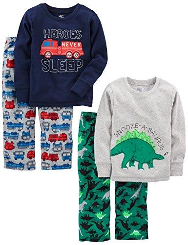Simple Joys by Carter's Little Kid und Kleinkind Jungen 4-teiliges Pyjama-Set ,Dino/Firetruck ,5T