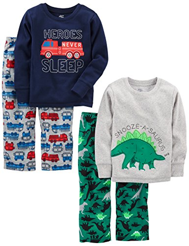 Simple Joys by Carter's Baby Boys' Toddler 4-Piece Pajama Set, Dino/Firetruck, 4T