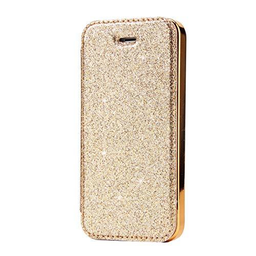 Mipcase Funda para iPhone 5/5S,Cubierta Interna Protectora de Lujo Superior a Prueba de choques de Lujo TPU de Bling de Cuero de la PU para iPhone 5 / 5S[Dia de la Madre Regalos]