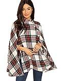 MAKEMECHIC Women's Button Front Cloak Sleeve Elegant Cape Mock Poncho Classy Plaid Print Cape Coat Multicolor A S