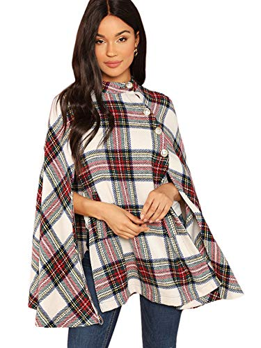 MakeMeChic Women's Button Front Cloak Sleeve Elegant Cape Mock Poncho Classy Plaid Print Cape Coat Multicolor-1 M
