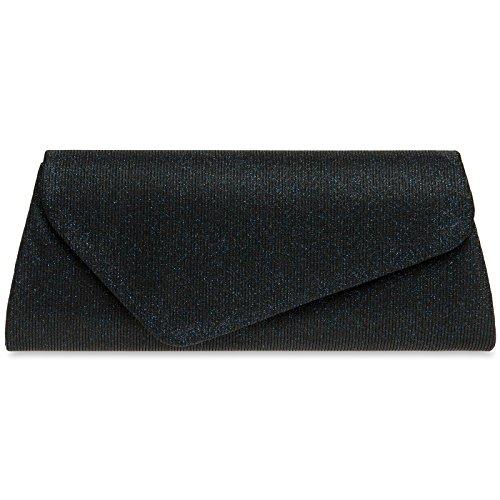 Caspar TA394 Damen elegante Glitzer Stoff Baguette Clutch Tasche Abendtasche mit langer Kette, Farbe:dunkelblau, Größe:One Size