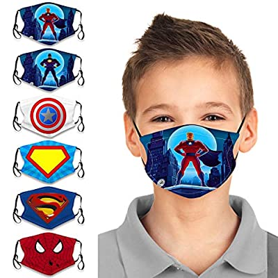 EVTCO Kids 6Pcs Child Cute Cartoon Face Bandanas Reusable Washable Cloth Cotton Face Protection Adjustable for Girls Boys
