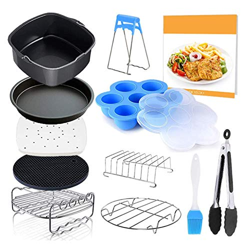 Tuoyao 7 Inch 12pcs Air Fryer Accessories Set, Fit 4.2QT-6.8QT Deep Air Fryer with Square Cake Baking Pan, Toasting Rack, Pizza Pan