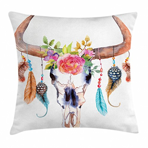 Ambesonne Watercolor Throw Pillow Cushion Cover, Bull Skull with Hanging Flower Feathers Inspired Design, Decorative Square Accent Pillow Case, 26' X 26', White Pink