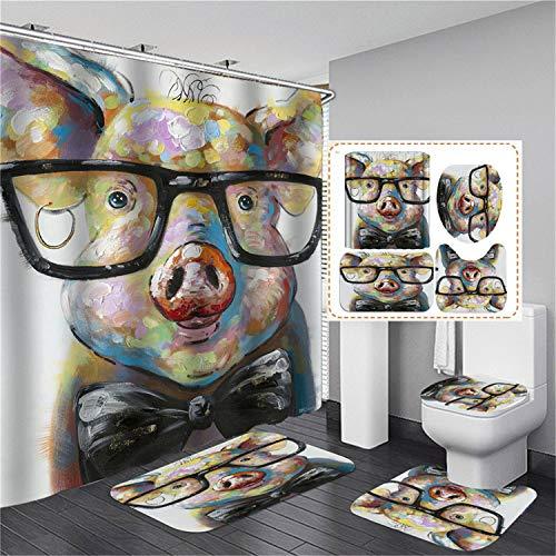 xingy&eshoop Duschvorhang-Schwein Mit Brille Verdickt Wasserdicht Und Schimmelresistent Badezimmer, Hotel Polyester Stoff Vierteiliges Badezimmer 180X180Cm