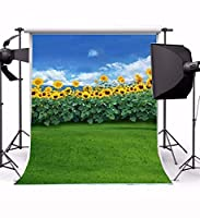 GooEoo 草原とひまわりの風景5 x 6.5 ft薄いビニール写真の背景1.5 x 2 m青空雲ネイチャービューコンピュータープリント写真の背景スタジオの小道具